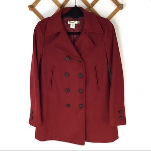 J. Crew Red Wool Coat Jacket Petite Small Thinsula